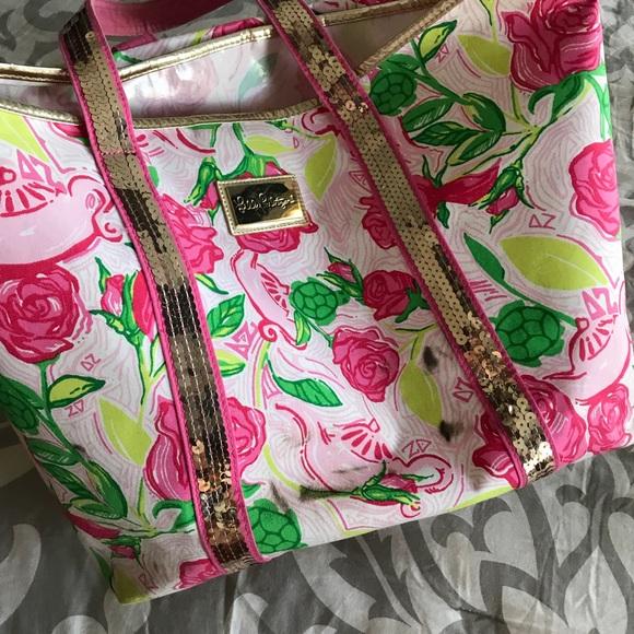 5bec5cb68c084f Lilly Pulitzer Handbags - Lilly Pulitzer Sparkle Tote (Delta Zeta)